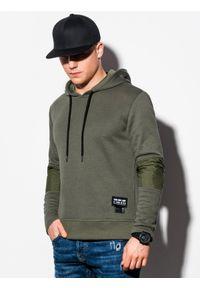 Ombre Clothing - Bluza męska z kapturem B1075 - khaki - XXL. Typ kołnierza: kaptur. Kolor: brązowy. Materiał: bawełna, poliester. Wzór: aplikacja