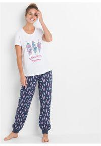 Piżama bonprix biało-niebieski melanż z nadrukiem