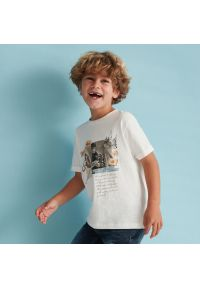 Reserved - Bawełniany t-shirt z nadrukiem Harry Potter - Kremowy. Kolor: kremowy. Materiał: bawełna. Wzór: nadruk