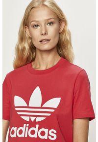 Różowa bluzka adidas Originals casualowa, z okrągłym kołnierzem, na co dzień
