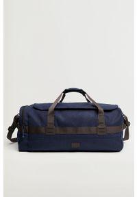 Niebieska torba Mango Man gładkie