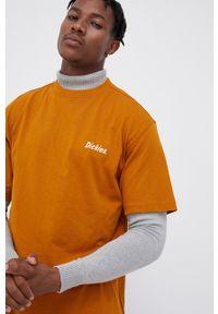 Dickies - T-shirt bawełniany. Okazja: na co dzień. Kolor: brązowy. Materiał: bawełna. Wzór: nadruk. Styl: casual