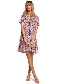 e-margeritka - Sukienka trapezowa w kwiaty z falbanką - xl. Materiał: tkanina, poliester, materiał, elastan. Wzór: kwiaty. Typ sukienki: trapezowe. Styl: elegancki