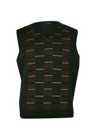 Oliwkowy sweter na zimę, z dekoltem w serek, elegancki, na co dzień