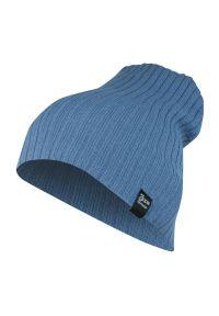 Niebieska czapka na jesień, sportowa, w prążki