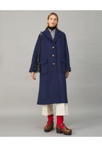 Tory Burch - TORY BURCH - Granatowy płaszcz z wełny. Kolor: niebieski. Materiał: wełna. Długość: długie. Sezon: jesień. Styl: klasyczny