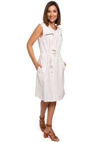 Style - Elegancka sukienka z paskiem na lato. Materiał: materiał. Sezon: lato. Typ sukienki: proste. Styl: elegancki