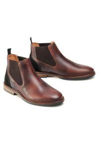 Brązowe buty zimowe Bullboxer eleganckie, z cholewką