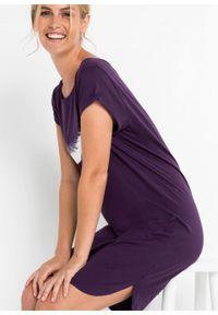 Koszula nocna, bawełna organiczna bonprix ciemny lila z nadrukiem