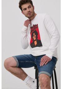 Wrangler - Bluza bawełniana x Bob Marley. Okazja: na co dzień. Kolor: biały. Materiał: bawełna. Wzór: nadruk. Styl: casual