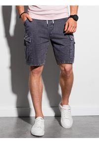 Ombre Clothing - Krótkie spodenki męskie dresowe W292 - czarne - XXL. Kolor: czarny. Materiał: dresówka. Długość: krótkie