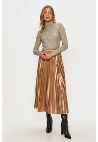 Brave Soul - Sweter. Typ kołnierza: golf. Kolor: srebrny. Materiał: włókno, dzianina. Długość rękawa: długi rękaw. Długość: długie