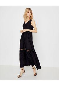 ICON - Jedwabna sukienka Maiori. Kolor: czarny. Materiał: jedwab. Długość rękawa: na ramiączkach. Wzór: koronka, aplikacja. Długość: maxi