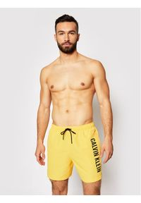 Calvin Klein Swimwear Szorty kąpielowe Medium Drawstring KM0KM00570 Żółty Regular Fit. Kolor: żółty #3