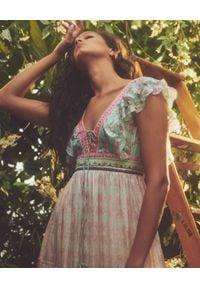 HEMANT & NANDITA - Długa sukienka Misa. Kolor: niebieski. Wzór: aplikacja. Długość: maxi