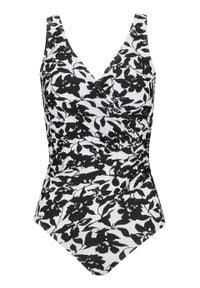 Kostium kąpielowy shape Tall Level 1 bonprix biało-czarny w kwiaty. Kolekcja: dla wysokich. Kolor: biały. Długość: długie. Wzór: kwiaty