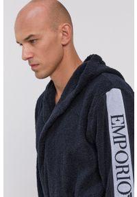 Emporio Armani Underwear - Szlafrok. Typ kołnierza: kaptur. Kolor: niebieski. Materiał: tkanina