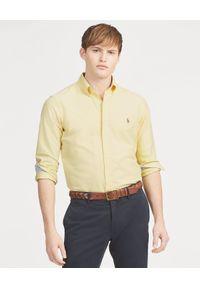 Ralph Lauren - RALPH LAUREN - Koszula Classic Fit. Typ kołnierza: polo. Kolor: żółty. Materiał: materiał. Długość rękawa: długi rękaw. Długość: długie. Wzór: haft