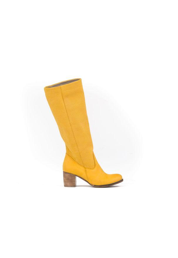 Żółte kozaki Zapato bez zapięcia, w kolorowe wzory