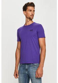 Fioletowy t-shirt EA7 Emporio Armani casualowy, na co dzień, z okrągłym kołnierzem