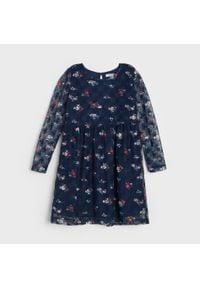 Sinsay - Sukienka dziewczęca - Granatowy. Kolor: niebieski