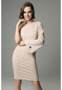 Madnezz - Sukienka Hellish Ellie - nude. Materiał: bawełna, dzianina, elastan. Wzór: aplikacja. Typ sukienki: dopasowane. Styl: elegancki