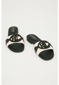 Czarne klapki Lauren Ralph Lauren bez obcasa, gładkie