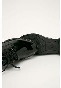 Czarne półbuty Tamaris z cholewką, z okrągłym noskiem, na sznurówki