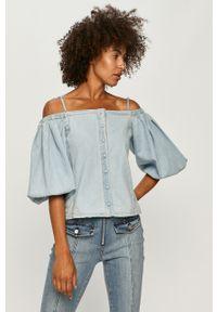 Niebieska bluzka Miss Sixty na co dzień, na ramiączkach, długa, z dekoltem typu hiszpanka