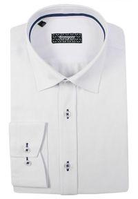 Biała elegancka koszula Grzegorz Moda Męska z długim rękawem, długa