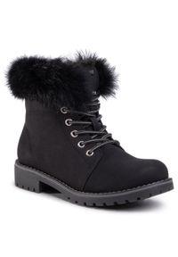 Czarne buty zimowe Nelli Blu na spacer, z cholewką