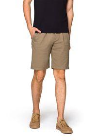 Beżowe szorty Lancerto krótkie, z aplikacjami, na lato