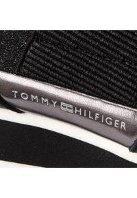 Czarne buty sportowe TOMMY HILFIGER z cholewką, na co dzień, z aplikacjami