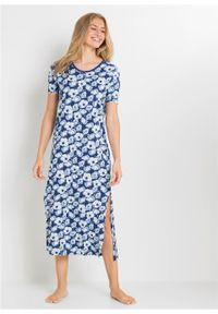 Długa koszula nocna bonprix niebieski w kwiaty