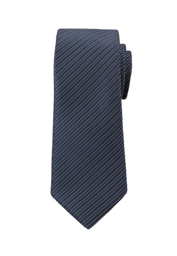 Wyszukany Krawat Męski w Ukośne Paski, Prążki - 6 cm - Angelo di Monti, Granatowy. Kolor: niebieski. Wzór: paski, prążki. Styl: elegancki