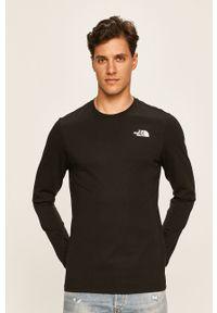 Czarna koszulka z długim rękawem The North Face casualowa, z nadrukiem