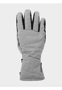 4f - Rękawice narciarskie damskie. Kolor: szary. Materiał: materiał, syntetyk. Technologia: Thinsulate. Sezon: zima. Sport: narciarstwo