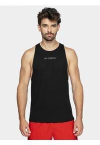 4f - Top treningowy męski. Kolor: czarny. Materiał: włókno, dzianina. Długość rękawa: bez rękawów. Sport: fitness