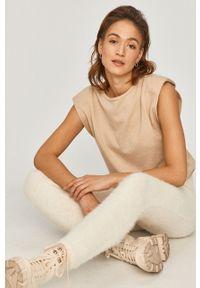 Kremowe legginsy Answear Lab gładkie, z podwyższonym stanem, wakacyjne