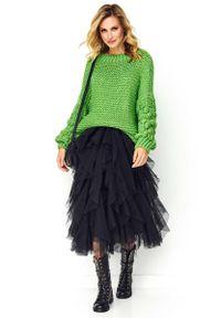 Zielony sweter oversize Makadamia na co dzień, casualowy
