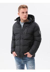 Ombre Clothing - Kurtka męska zimowa C502 - czarna - XXL. Kolor: czarny. Materiał: poliester. Sezon: zima