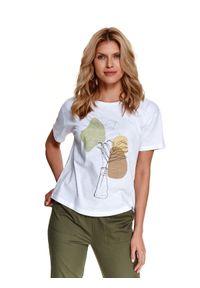 Biały t-shirt TOP SECRET krótki, z aplikacjami
