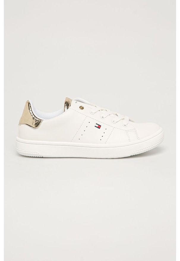 Białe buty sportowe TOMMY HILFIGER z okrągłym noskiem, na sznurówki