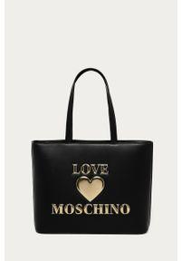 Czarna shopperka Love Moschino z aplikacjami, duża, skórzana