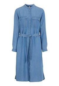 Soyaconcept Sukienka z lyocellu Liv denim blue female niebieski S (38). Typ kołnierza: kołnierzyk stójkowy. Kolor: niebieski. Materiał: denim. Długość rękawa: długi rękaw. Typ sukienki: proste. Styl: elegancki