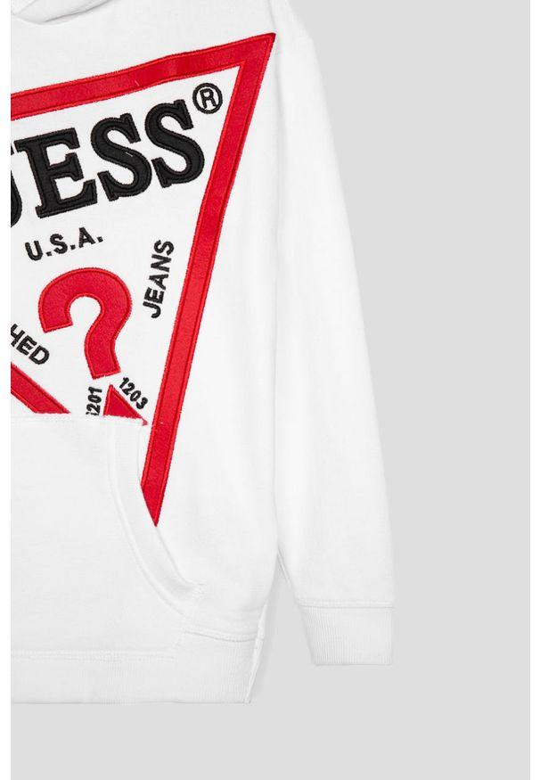 Biała bluza Guess Jeans z kapturem, z aplikacjami