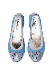 Niebieskie baleriny R.Polański klasyczne, z cholewką