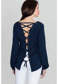 Niebieska bluzka z długim rękawem Katrus z dekoltem na plecach