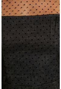 Czarna sukienka Miss Sixty z włoskim kołnierzykiem, na co dzień, prosta