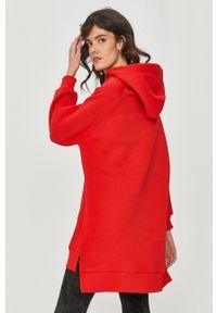 Czerwona bluza Answear Lab długa, gładkie, z kapturem, wakacyjna